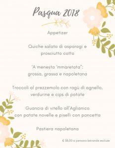 Menu di Pasqua 2018 Ristorante Tasso